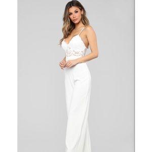 Fashion Nova Roof Top Date Lace Jumpsuit - White